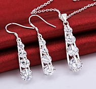 Silver Jewelry,Silver Fashion Jewelry White Crystal Necklace&Earrings Jewelry Sets For Women SS777