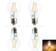 Lámparas LED de Filamento Decorativa Zweihnder BA E26/E27 4.0 W 4 LED Dip 380 LM Blanco Cálido AC 100-240 V 4 piezas