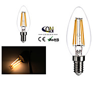 2 Stück ONDENN E14 4 COB 400 LM Warmes Weiß C35 edison Vintage LED Glühlampen AC 220-240 V