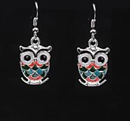 Cute Owl Silver Alloy Earrings (1 Pair)