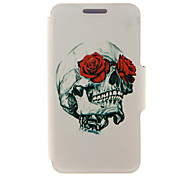 For HTC Case with Stand / with Windows / Flip Case Full Body Case Skull Hard PU Leather HTC