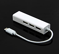 Type-C Interface Usb2.0 Lan Adapter + Usb2.0 Hub x 3 Port