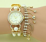 relógio de cristal pérola chainbracelet moda feminina