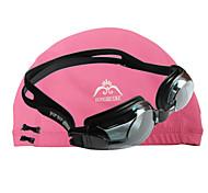JIEJIA Anti-Fog Myopia Swimming  Goggles OPT1003 (- 400 Degrees) Black + HONGRUIKE  Cloth Caps Pink Combination