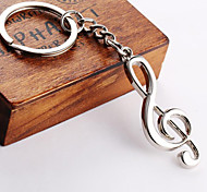 Stainless Steel Music Notation Key Chain Ring Keyring