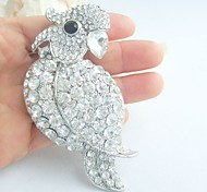 Women Accessories Silver-tone Clear Rhinestone Crystal Parrot Brooch Art Deco Women Jewelry