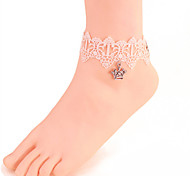 Women Fashion Body Jewelry Summer Beach Gothic Style Charm Vintage Casual Lace Crystal Crown Anklets