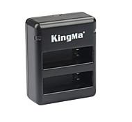Kingma BM020 Dual-USB Dual-Slot Battery Charger for GoPro Hero 4 / GoPro AHDBT-401 - Black + Gray