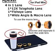 Apexel 4 in 1 Lens Kit 12X White Telescope Lens+Fisheye Lens+Wide-angle+Macro Camera Lens with Case for iPad mini 2/3