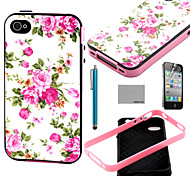 COCO FUN® Roseo Flower Pattern Soft TPU Back Case Cover with Screen Protector and Stylus for iPhone 4/4S