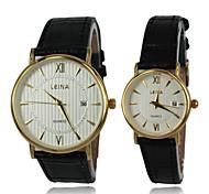 relógio relógio de vestido de couro real banda de pulso de quartzo dos homens (cores sortidas)
