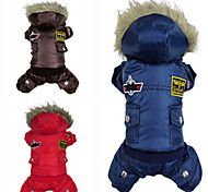 Dog Coat / Hoodie / Jumpsuit Red / Blue / Brown Winter Police/Military Fashion / Keep Warm