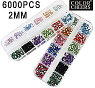 2x3000pcs 2mm runde 12-in-1 Acrylrhinestonenagelkunstdekoration