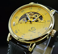 Fashion Brand Men Automatic Self Wind Auto Mechanical Watch Luxury Leather Golden Skeleton Dress Watches Man