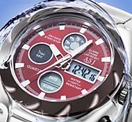 relojes de acero inoxidable 3atm cronógrafo lcd impermeable nueva mens militares deporte cuarzo de la muñeca fecha reloj digtal días de