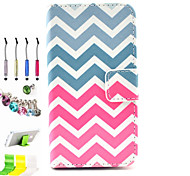 Color Wave Pattern PU All Inclusive With Slot Case and Stylus Pen Dust Plug Bracket Assembly for iPhone 4/4S