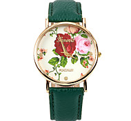 Colour Rose Women PU Leather Band   Wristwatch(Green)(1Pcs)
