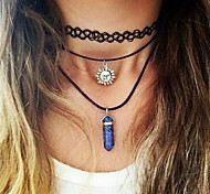 Fashion Cccessories Jewelry New Fishing Line Tattoo Natural Crystal Stone Necklace DIY Gift for Women Girl (Sun)