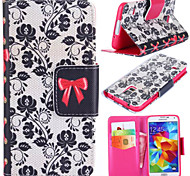 Rattan Flower Pattern with Card Bag Full Body Case for Samsung Galaxy S5 I9600