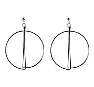 Fashion Women Polished Big Circle Drop Earrings