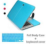Top Selling Luxury Leather Full Body Case and Keyboard Cover for Macbook Pro 13.3 inch (Assorted Colors)