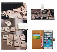 lettre carte modèle de portefeuille cas PU avec support pour iPhone 6 plus