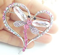 Women Accessories Silver-tone Pink Rhinestone Crystal Dragonfly Brooch Art Deco Women Jewelry