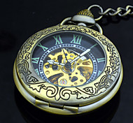 Automatic Pocket Watch Retro Bronze Auto Self Wind Mechanical Antique Pocket Watches Men