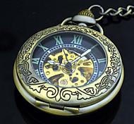 Relógio de bolso automático bronze retro auto auto vento bolso antigo mecânico relógios homens