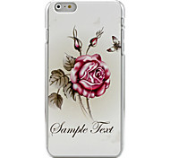 Chinese rose flower and butterfly painted reliefs Hard Back Cove Case for iPhone 6