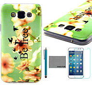 COCO FUN® Be Free Pattern Soft TPU Back Case Cover with Screen Protector and Stylus for Samsung Galaxy A7