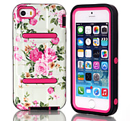 H Models IMD White Flowers TPU and PC Material Triple Phone Shell for iPhone 5C (Assorted Colors)