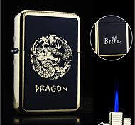 Personalized Gift Dragon Design Boutique Metal Black Single Flame Butane Lighter