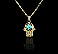 18K Real Gold Plated Hamsa Hand Of Fatima Evil Eye Crystal Hollow Out Pendant Necklace