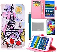 COCO FUN® Pink Purple Owl Pattern PU Leather Case with Screen Protector, Stylus for Samsung Galaxy S5 I9600