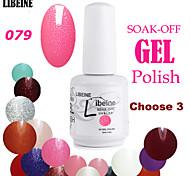 LIBEINE 3 pcs/lot 15 ML UV Color Gel Nail Polish No.079(Glitter Bright Fuchsia)