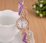 das mulheres relógios senhoras moda colorida de aço do relógio acessórios requintado bracelete de diamantes folhas de relógios