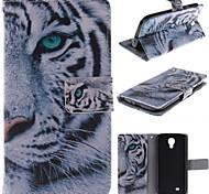 diseño de tigre blanco de la PU cuero caso de cuerpo completo con soporte y ranura para tarjeta para Samsung Galaxy S4 / i9500