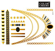 1Pc Gold and Black Long Bracelet And Necklace Tattoo Sticker 23x15.5CM