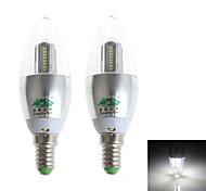 Zweihnder E14 4W 380LM 5500-6000K 32x3014 SMD LEDs Cool White Candle Light (AC 220-240V,2Pcs)