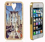 behalten Sie Ruhe und leben in New York Design-Luxus-Hybrid-Bling Funkeln-Schein mit Kristallrhinestone-Kasten für iPhone 5/5 s