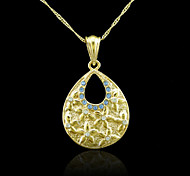 18K Real Gold Plated Water Drop Zircon Pendant Necklace