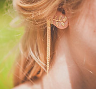 The New European Style Fashion Street Shoot Simplicity Leaves Tassel Earrings