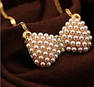 New Arrival Fashional Hot Selling Popular Rhinestone Pearl Bow Necklace