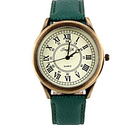 Metal With Leather Band Wristwatch(Green)(1Pcs)