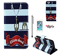 KARZEA™Anchor Necklace Pattern PU Leather Case with Screen Protector and Stylus and Dust Plug for iPhone 6