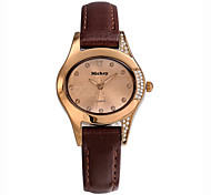 Women Assorted Colors Charm Pearl Dial Genuine Leather Band Japan Quartz Movement Wristwatches