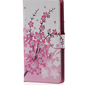 estojo de couro pu flor de ameixa carteira com slots de stands e cartão para lg leon 4G LTE h340n