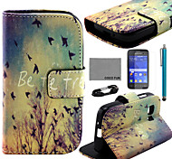 COCO FUN® Flying Bird Pattern PU Leather Case with Film and Stylus for Samsung Galaxy Young 2 G130