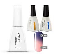 Azure 3 Pcs/Lot Gel Polish Temperature Color Change Nail Art Soak Off UV Gel Nail(#13+BASE +TOP)